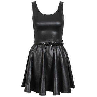 View Item Wet Look Belted Skater Dress